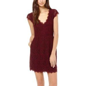 Aritzia Babaton Burgundy Lace V Neck Dress